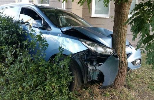 В центре Харькова иномарка снесла стенд с велосипедами и врезалась в дерево (ФОТО)