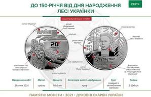 НБУ выпустит памятную монету с изображением Леси Украинки
