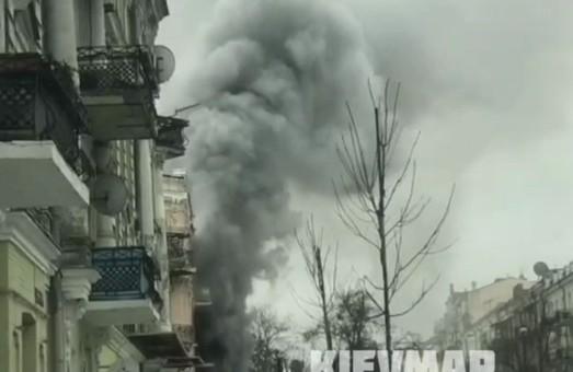 В центре Киева крупный пожар (Видео)